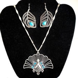 Lucky Brand Peacock Necklace & Feather Earring Set